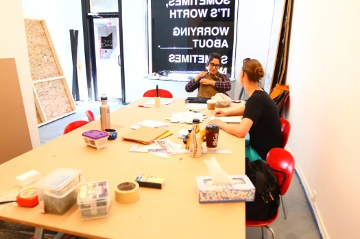 Tuesday at CIVIC SPACE with design sessions, styrofoam letters, bunting, meetings, and polaroids (3)