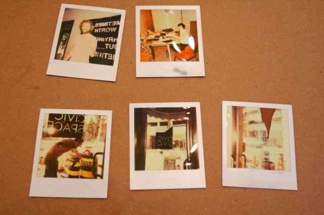 Tuesday at CIVIC SPACE with design sessions, styrofoam letters, bunting, meetings, and polaroids (31)