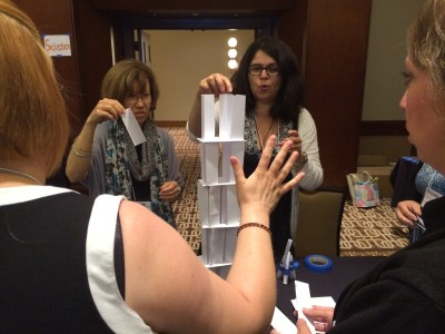 Participants in our SHoM workshop PERSIST in their problem solving and craftsmanship. (They are also just hoping their tower doesn't fall down. When it did they PERSISTED in building it again.)