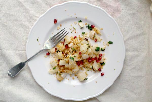 roasted rutabaga with panko gremolata & pomegranate // brooklyn supper