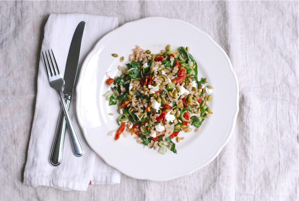 farro salad with beet greens and sun-dried tomatoes // brooklyn supper