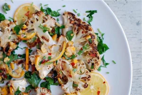 roasted cauliflower steaks with meyer lemon relish // brooklyn supper