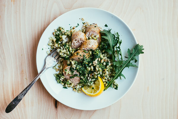toasted barley with arugula pesto and sausage coins // brooklyn supper