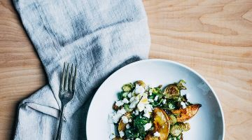 maple roasted brussels sprout and quince salad