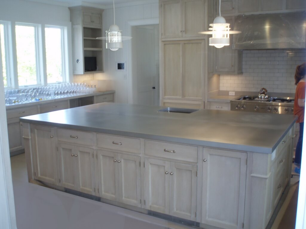 zinc countertops kitchen island countertop Wide Zinc Countertop for a Kitchen Island