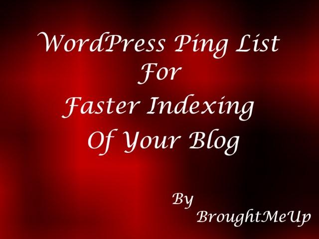 Updated WordPress Ping List