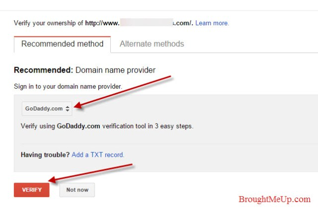 verify site in google webmaster tools by signing in to domain name provider