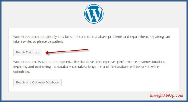 fix database connection error by database repair