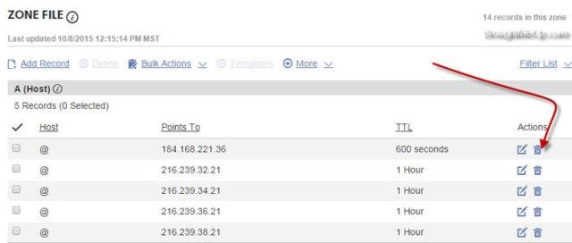 delete original IP and add google IPs for blogspot domain setup