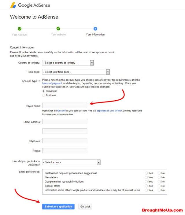 AdSense Account Details