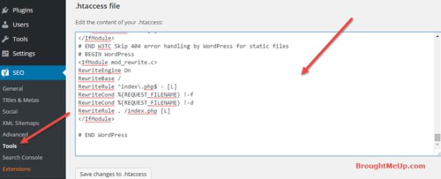 edit htaccess file from WordPress dashboard