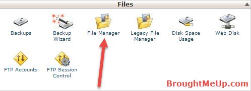 access WordPress root files through cpanel