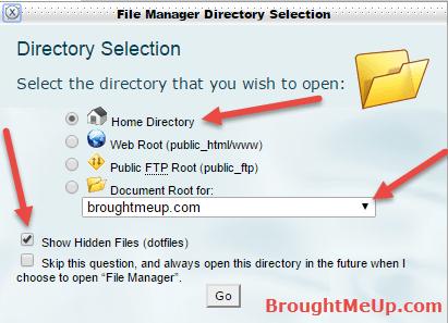 show hidden files .htaccess cpanel