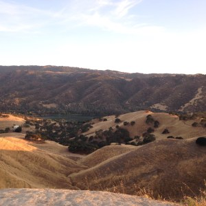 View of lake Del Valle from top of foothill