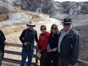 Family meet-up in Yellowstone. Steve, Cathy, Joan and Ray