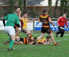 Brian Cahil crosses for Bruff Try
