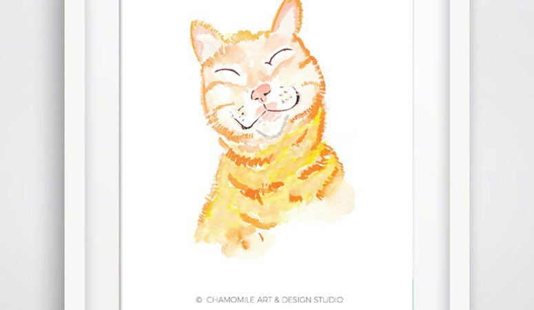 Free Printable – Cat Watercolor Print