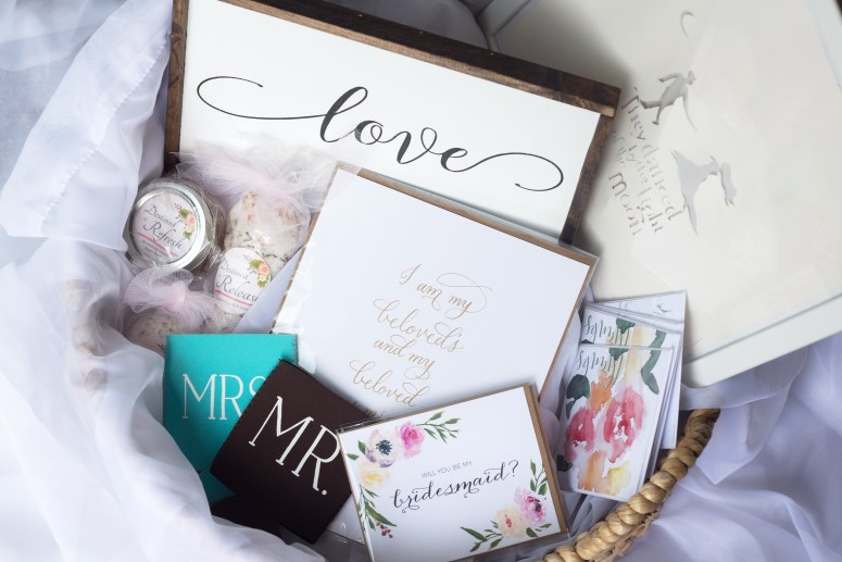 Bridal Gifts Box with Calligraphy prints, skincare products, handmade cards and more!