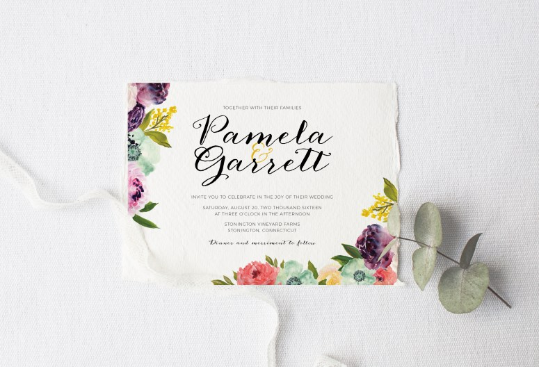Wedding Invitations designed by Bruna Masalin | Chamomile Design. Click the link to see full collection and get some sweet freebies!