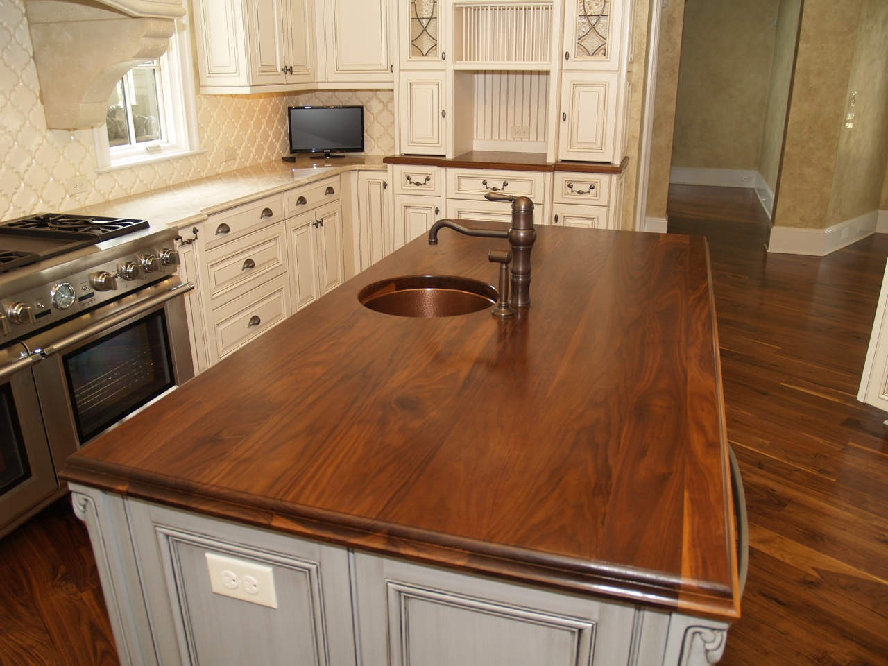 countertops wood kitchen countertops Walnut kitchen countertop wide plank flat grain construction 1 75 thick large double roman ogee edge undermount sink with permanent finish