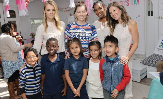 """""""WEST HOLLYWOOD, CA - APRIL 27:  Kelly Sawyer Patricof; Jessica Biel, Kelly Rowland; Norah Weinstein and children attend Tiny Prints Presents The Baby2Baby Mother's Day Party at AU FUDGE on April 27, 2016 in West Hollywood, California.  (Photo by Stefanie Keenan/Getty Images for Baby2Baby and Tiny Prints)"""""""