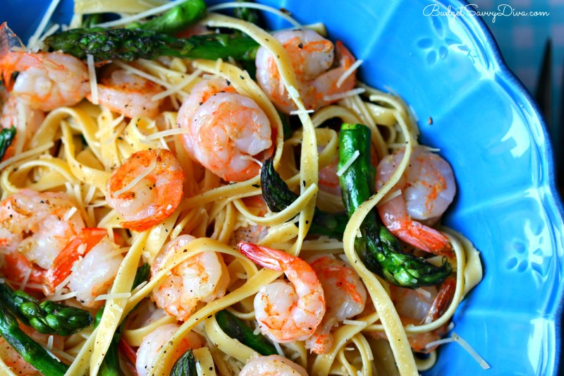 Large Of Shrimp Asparagus Pasta