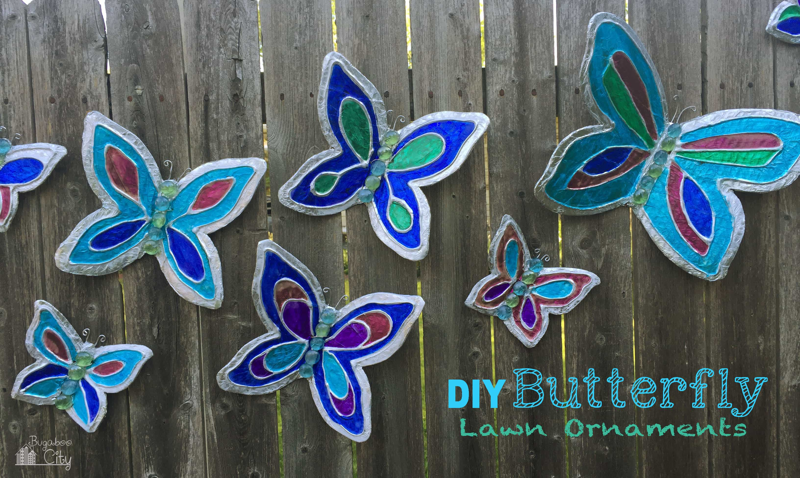 Diy butterfly garden ornament bugaboocity for Outdoor butterfly ornaments
