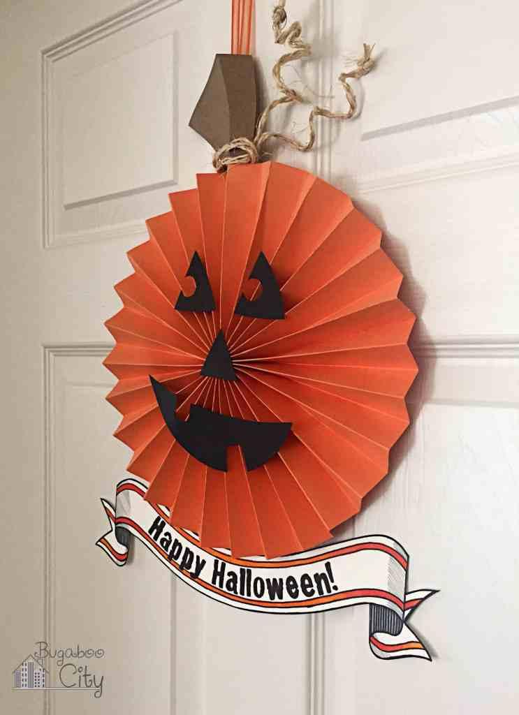 Halloween Paper Pumpkin Wreath 3