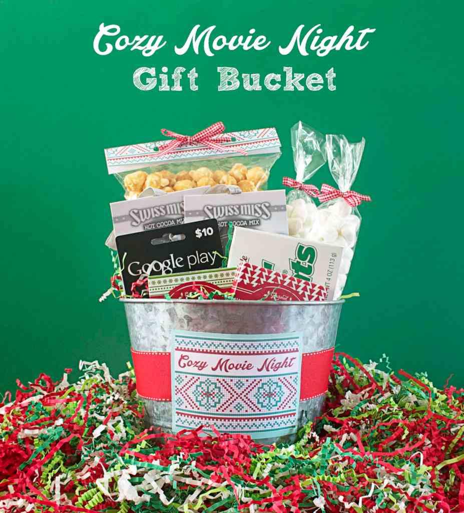 Cozy Movie Night Gift Bucket, Gift Basket