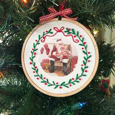 DIY Embroidered Photo Ornaments