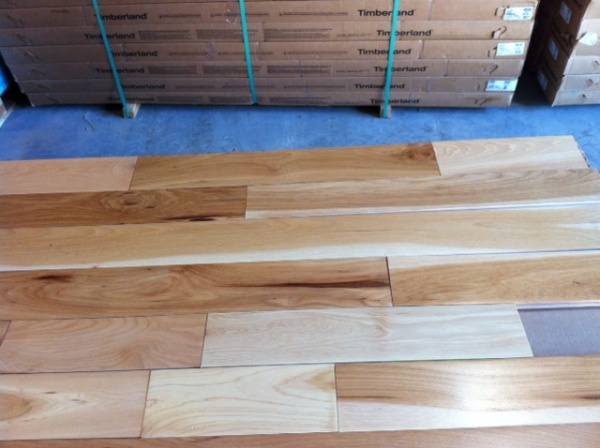 Four inch hickory prefinished hardwood flooring in stock for Hardwood floors on sale