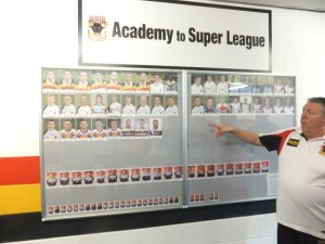 Board showing Academy graduates who have played in Super League