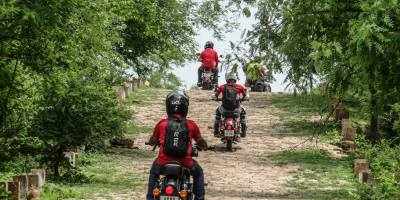 Bulleteers ride with Taj Royals, Agra, to Dev Kho, Gwalior, near tighra dam