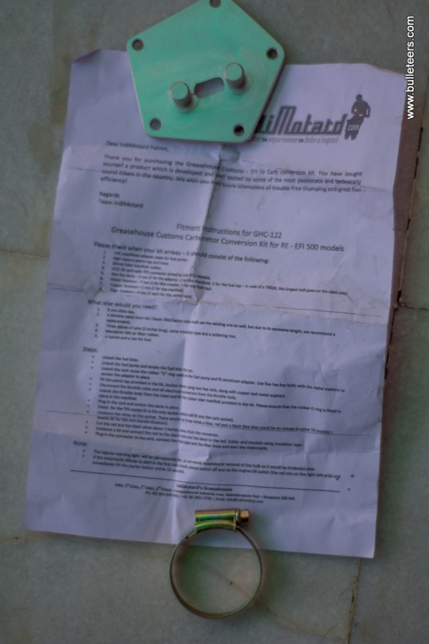 instruction page for the indimotard greasehouse efi to carburetor conversion kit
