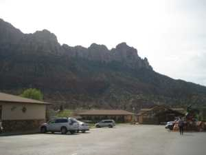 Easily accessible parking, set back off the road and offering amazing views of Zion Mountains