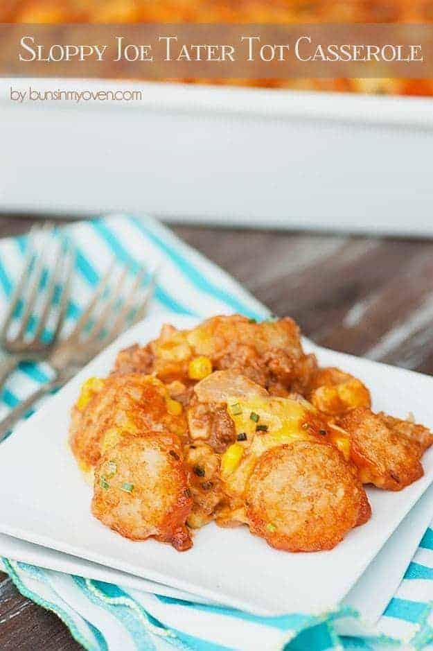 Sloppy Joe Tater Tot Casserole #recipe by bunsinmyoven.com