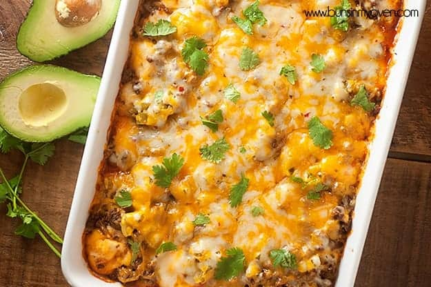An enchilada casserole made of biscuits instead of tortillas...perfect for Cinco de Mayo!