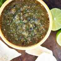 Roasted Tomatillo Salsa Verde - this easy salsa recipe is roasted for maximum flavor. Great for game day and for mixing into recipes.