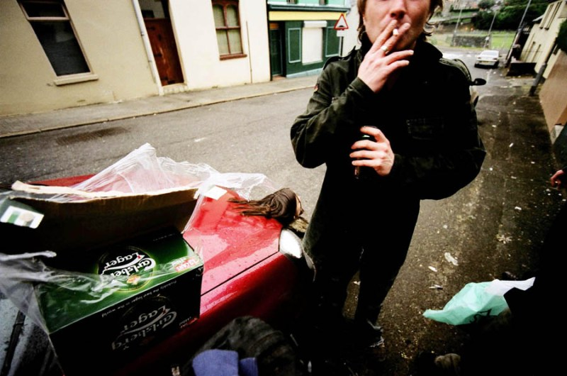 Jamie drags on a cigarette past dawn leaving an after-party, 2006