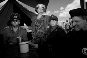I portray Leni Riefenstahl at WWII reenactments and behave with soldiers as she would have.