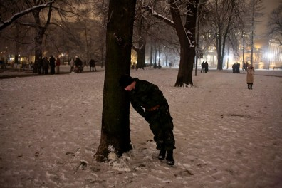 A drunk Serbian soldier during New Year's Eve celebrations in Pionirski Park.