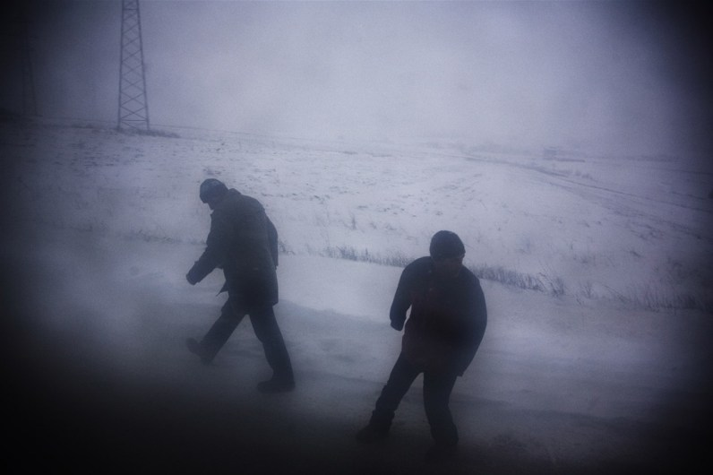 A blizzard strikes along the road from Prishtina to Mitrovica, Kosovo.