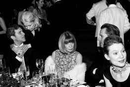 Vogue Editor in Chief Anna Wintour (center) sits down to dinner with California Lieutenant Governor Gavin Newsom and the actress Mia Wasikowska during a gala for the opening of the exhibit Balenciaga and Spain at the de Young Museum. A Vogue editor curated the exhibit and as a result the gala drew a more fashionable and famous crowd than what is usually seen in San Francisco.