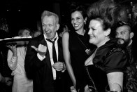 Fashion designer Jean Paul Gaultier, his muse and former model Farida Khelfa and society columnist Jennifer Raiser (left to right) enjoy a private party in Gaultier's honor to celebrate the opening of an exhibit of his work at the de Young Museum.