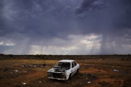 A rare site: rainclouds on the horizon. Wilcannia has suffered severe drought conditions in recent years. Ultimately these clouds passed the town by without offereing any precipitation. David Maurice Smith/Oculi.