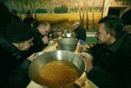 Inmates eat soup in the canteen during the lunch break. The amount of food is strictly regulated, and all calories are counted. The food is very plain. LTP is a part of the penal system and Belarus is the only country in the world that still practices the punishment of obligatory incarceration for addicts. There are five LTP in Belarus, each housing about 1600 inmates. One LTP is for women, the others are all male. The main treatment is labour, and camomile tea.