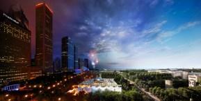Millennium Park, Chicago, Day to Night, 2013