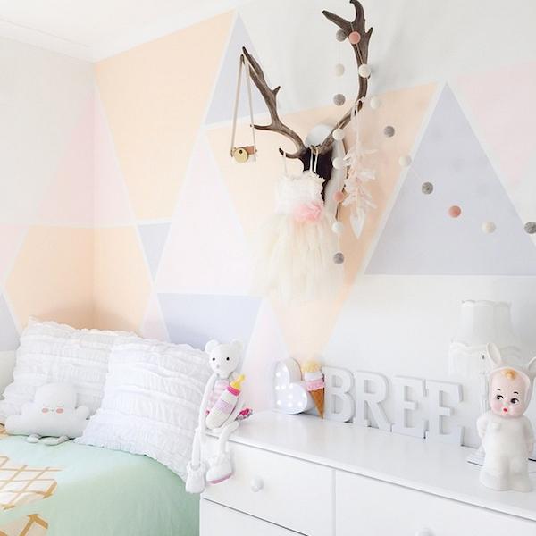 Lighting For Teenage Bedroom Vinyl Wall Art Bedroom Accent Wall Ideas For Bedroom Geometric Wallpaper Bedroom: Inspiration: Multicolored Geometric Walls