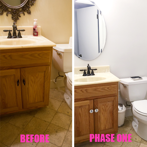 half bath phase one before and after