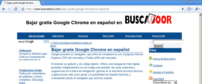 Así se ve esta página con Google Chrome Browser